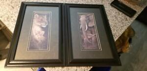 Two Animal Lion/Elephant Wall Artwork 16 x10 - $30 firm for both