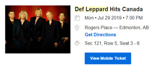 4x Def Leppard Tickets (Edmonton - July 29) **AWESOME SEATS**