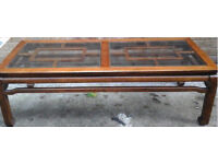 Large 1970's glass inset coffee table in great condition