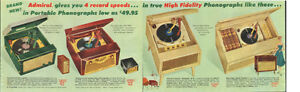 Large 1955 original color print ad for Admiral record players