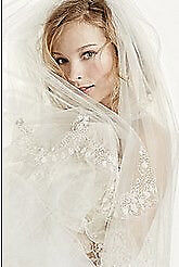 Two Tier Scallop Beaded Edge Cathedral Veil -Ivory