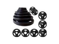 **BRAND NEW IN BOX** BLACK OLYMPIC RUBBERISED TRI GRIP WEIGHT PLATES