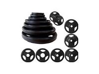 **BRAND NEW IN BOX** BLACK OLYMPIC RUBBERISED TRI GRIP WEIGHT PLATES **2.5kg - 25kg**