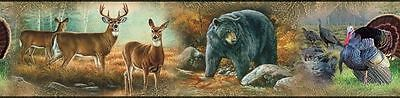 DEER BEARS TURKEYS WALLPAPER BORDER Wild Animals Wall Decor Peel & Stick