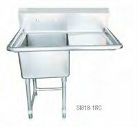 """Commercial Single Sinks 18"""" With Drainboard"""