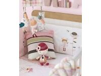 Mamas and Papas Pink and Cream Scrapbook Girl Cushion, Picture (Rabbit) and Lampshade