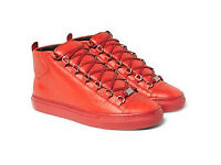 Balenciaga Red Leather High Top Sneakers Size 8