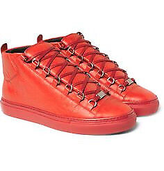 Balenciaga Red Leather High Top Trainers Size 8