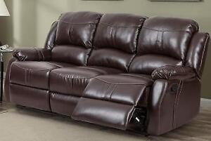 Reclining Sofa in a Brown or Black Leatherette only $750 taxes included