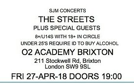 The Streets (plus special guests) Brixton Academy. Friday 27th April - The last show on the tour