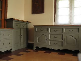 olive green painted kitchen furniture