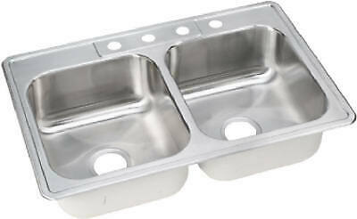 33 x 22 x 8-Inch Stainless-Steel Double-Compartment Kitchen Sink