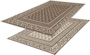 RV-Patio-Mat-RV-Awning-Mat-Trailer-Camping-Rug-Tan-Brown-Beige-Vine-Floral-8x20
