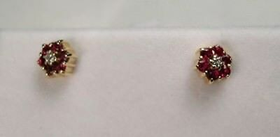 [1557] 14kt Yellow Solid Gold Pierced Indented Post Ruby & Diamond Earrings