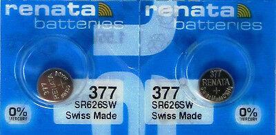 2 Renata 377 Silver Oxide Batteries