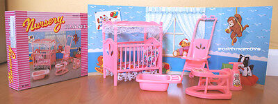 GLORIA DOLLHOUSE FURNITURES NURSERY ROOM W/ Stroller PLAYSET FOR BARBIE