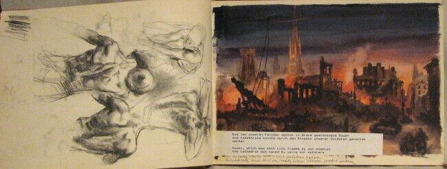 RARE VINTAGE HANS LISKA WW II ILLUSTRATIONS SKETCH BOOK  - 1944 EDITION