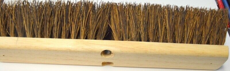 "18"" Broom Head with 3 1/2"" Coarse brushes.  Wooden deck with 2 screw in holes."