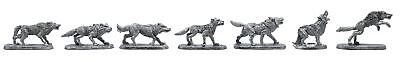 7 Piece Wolf Pack Set - 100% Lead-Free Pewter - Classic Fantasy Miniatures for