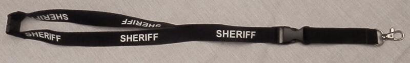 SHERIFF Lanyard Neck ID/Card Key Holder White lettering on Black