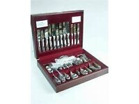 VINERS 44 PIECE WESTBURY CANTEEN OF CUTLERY (Quality wooden Cased and Never Used)