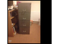 4 Drawer Metal Filing Cabinet - Grey lockable with key