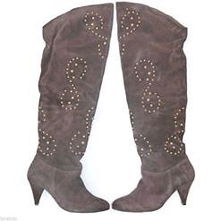 Ladies Thigh High Over The Knee Western Mid Heel Studded Faux Suede Boots Size 7