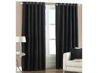 REDUCED - Asda George Black Metal Ring Top Curtains