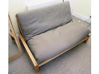 Futon Company Linear Sofa Bed with Solid Wood Base and Quality Sofabed Mattress (Can Deliver)