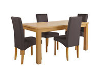 HOME Stonebury Table and 4 Skirted Chairs - Oak Stain Chocolate