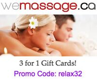 3 for 1 Massage Therapy Gift Cards