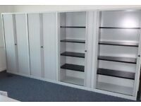 4 - 2M TAMBOUR CABINETS - WITH SHELVES- LIGHT GREY EXCELLENT COND
