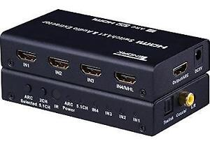 3 To 1 Optical S/PDIF Audio Switcher + HD Component Video Switch IR Remote