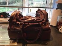 Hold-all bag chocolate brown leather new bag