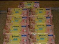 9 packs of Johnson's Extra Sensitive Baby Wipes
