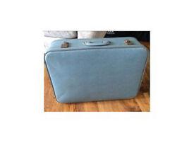 Vintage duck egg blue suitcase