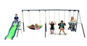 Kids Outdoor playground 8 Station Metal Swing-set & slide set