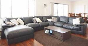 100% Leather - Black, L-Shape Couch, So Comfy!! Bought for $3000 Wandi Kwinana Area Preview