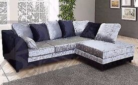 New Dylan Left / Right Hand Corner Sofa Black/ Silver Colour, New Crushed Velvet Fabric Corner Sofa