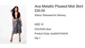 Boohoo metallic pleated midi skirt