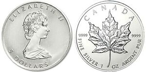 One Troy Ounce .9999 pure Silver Maple Leaf Coin