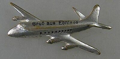 Pin Abzeichen Flugzeug Gruß aus Ebnisee um 1950 (32459)