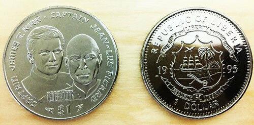 Liberia - Star Trek - Captain Kirk and Captain Picard  - Commemorative Coin