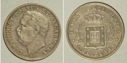 Rare Portuguese India 1881 Silver Una Rupia