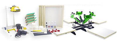 Silk Screen Printing Press 4 Color 4 Station Heat Gun Exposure Unit Equipment
