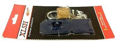 (Security Gate Door Latch Blue Metal Hasp Padlock Small Lock w/ Key Set w/screws)