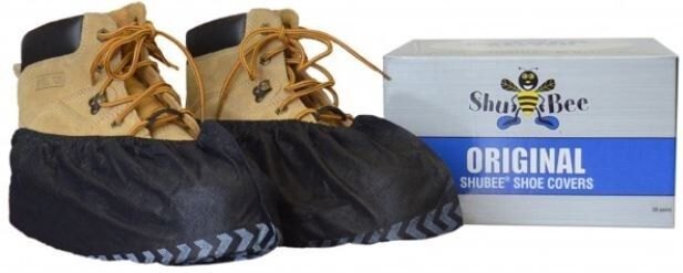 150 PAIRS DISPOSABLE SHOE COVERS NON-SKID BLACK INDUSTRIAL  MEDICAL BOOTIES