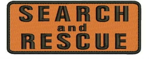 Search and Rescue embroidery patches 2x5 hook on back orange