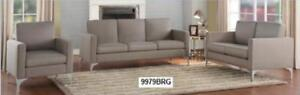 Newly in Stock!  New 3PC Sofa Set in a Dark Grey, Grey or Brown Fabric for just $799. *  Layaway Available.  Quantities