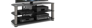 "Glass shelves and metal frame TV Stand for 65"" Flat screen, NIB"
